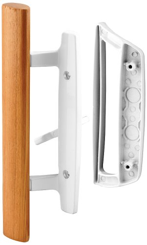 "Prime-Line C 1204 Sliding Glass Door Handle Set – Replace Old or Damaged Door Handles Quickly and Easily – White Diecast, Mortise/Hook Style (Fits 3-15/16"" Hole (Handle Patio)"