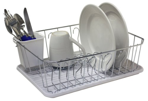 Home Basics Small Chrome Dish Drainer, tray color may vary  ( red, black, and white)