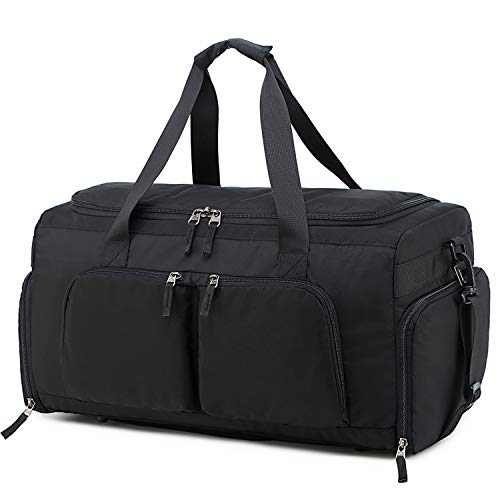 Lightweight Travel Duffle Bag Sport Gym Bag for Men and Women Overnight Duffel Bag with Shoe Compartment (Black with Shoe Compartment)