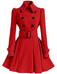 Jacket Womens Winter Warm Woolen Coat Trench Parka Jacket Belt Overcoat Outwear