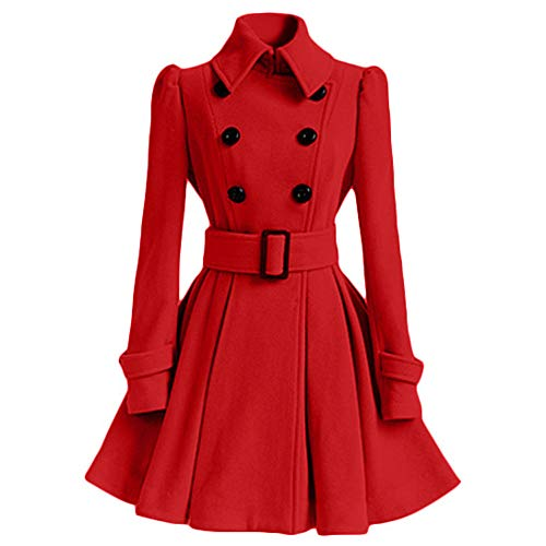 POTO Pea Coats for Women, Ladies Swing Double Breasted Wool Pea Coat with Belt Mid-Long Lapel Dresses ()