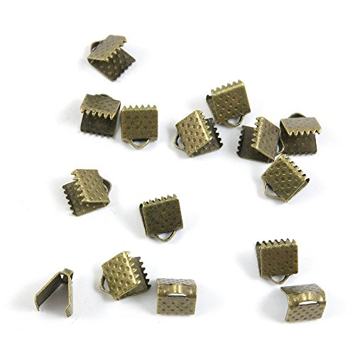 100 Pieces Fermoir Jewelry Making Supply Charms Findings Bronze Tone I1DJ6 Ribbon Bracelet Bookmark Leather Pinch Crimps End 6mm
