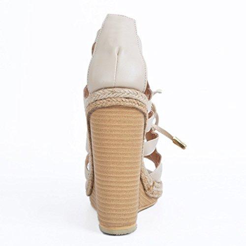 Sandalias garlos Vestir Beige Piel de de Mujer Para 4qTqna6g
