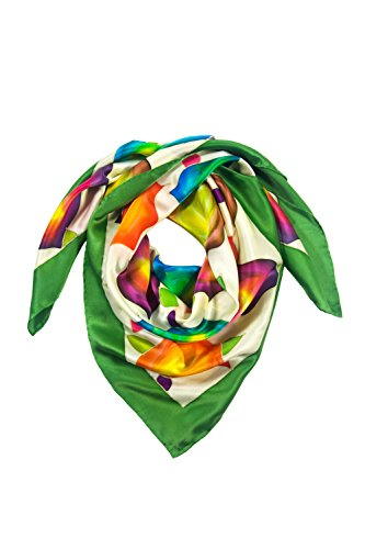 Her Border - TexereSilk Women's 100% Silk Square Scarf (Green Border, Unisize) Beautiful Gifts for Her AS0020-GRN-U