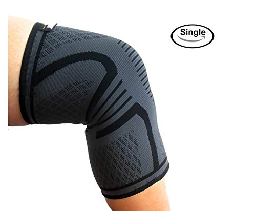 Knee Support Brace for Men & Women by LSR- Knee Compression Sleeve for Exercise, Running, Jogging, Sports- Arthritis, Joint Pain Relief, Surgery Recovery – Single Wrap – Grey/Black Large