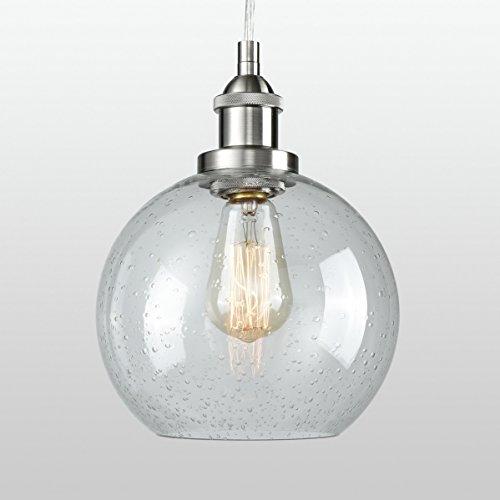 Ceiling Light Seeded Glass Pendant Light Sphere Globe Hanging Lighting, Brushed Nickel (Glass Hanging Ceiling Pendant)