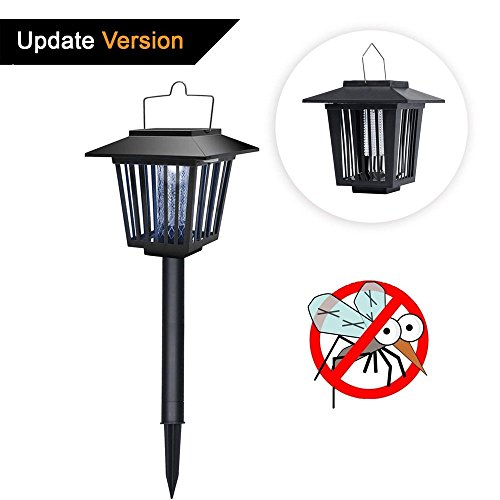 Brionac Solar Powered Bug Zapper Light - New Upgraded Solar Mosquito Killer for Fly/Worm/Moths/Flies, Waterproof & Electronic Insect Trap Pest Control LED Garden Lamp, Perfect for (Solar Bug Killer Light)