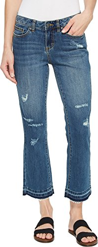 prAna Cia Cropped Flare Pants, Distressed Antique Blue, Size 8
