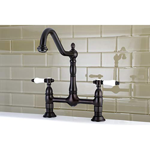 Kingston Brass Victorian High Spout Bridge Porcelain-Handles Kitchen Faucet Oil Rubbed bronze Bronze Finish