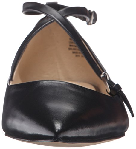 Anastagia Flat West Leather Women's Black Nine Pointed Toe 8fqAE