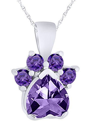 Wishrocks Simulated Amethyst Paw Print Pendant Necklace in 14K White Gold Over Sterling Silver ()