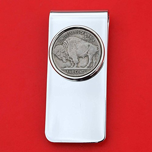 US 1913 ~ 1938 Indian Head Buffalo Nickel 5 Cent Coin Solid Brass Silver Plated Money Clip New - High (Buffalo Nickel Money Clip)
