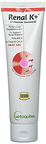 Vetoquinol Renal K+ Oral Gel Potassium Gluconate for Dogs and Cats 5 oz