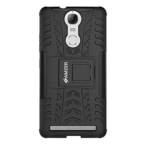 AMZER Hybrid Warrior Impact Resistant Case Skin for Lenovo K5 Note - Retail Packaging - Black/Black