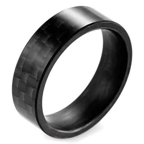 SHARDON Men's 8mm Flat Pure Carbon Fiber Ring Size 10