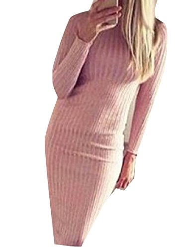 Women's Comfy Round Long Dresses Evening Solid Pink Fashion Neck Sleeve R1v4vS