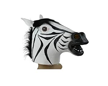 Grauen Furchtsamer Zebra Kopf Marske Gesicht Latex Tiermaske