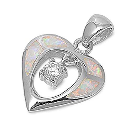 Heart Pendant Clear Simulated CZ White Simulated Opal .925 Sterling Silver Hanging Charm (Sterling Silver Opal Hanging)