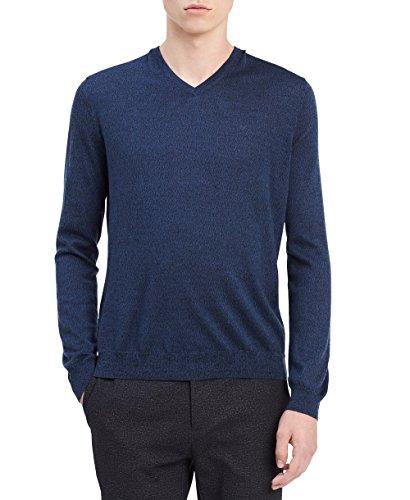 Calvin Klein Men's Merino Solid V-Neck Sweater, Blue Indigo Mouline, Small by Calvin Klein