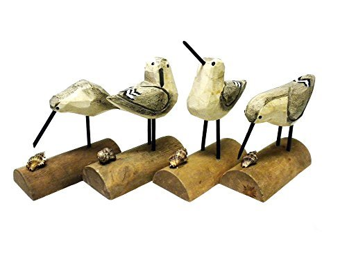 DEI Beach Carved Wooden Seagull SANDPIPER sand piper BIRDS - Set of 4 - 6