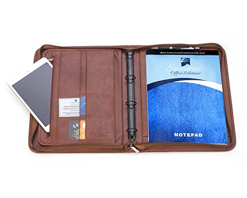 Professional Business Padfolio Portfolio Briefcase Style Organizer Folder Notepad and 4 Ring Binder - Brown Synthetic Leather by Executive Office Solutions