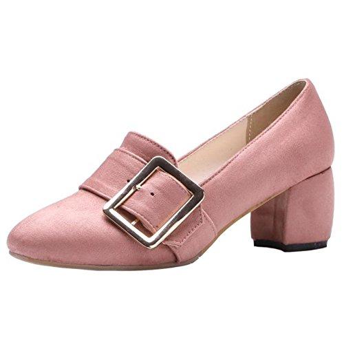 COOLCEPT Mujer Moda Hebilla Acento Irlandes Bombas Zapatos Tacon Medio Ancho Boca Baja Zapatos Pequeno Tamano Rosado