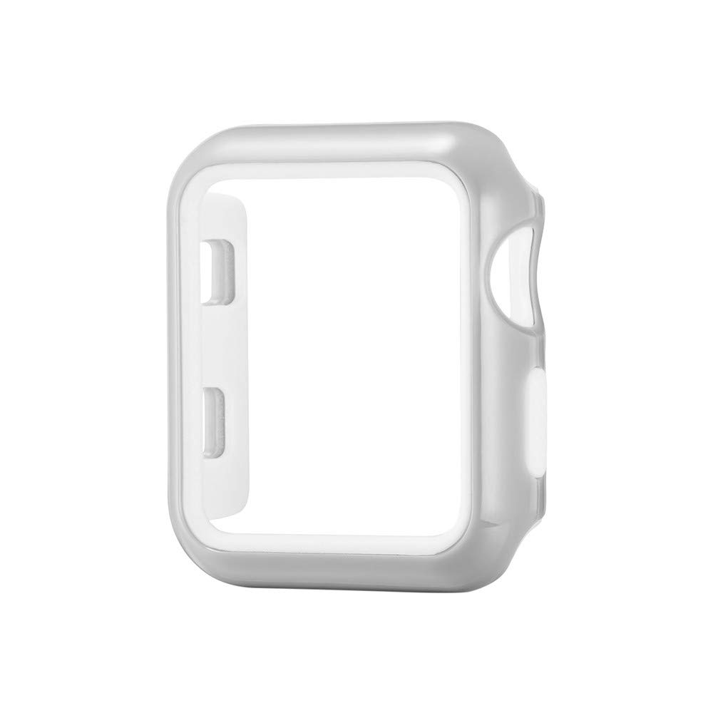 Compatible with Apple Watch Case 38mm, Tuscom Soft Silicone Ultra Slim Lightweight Bumper Case Scratch Resistant Protective Cover for iWatch Apple Watch Series 3 38mm (Silver)