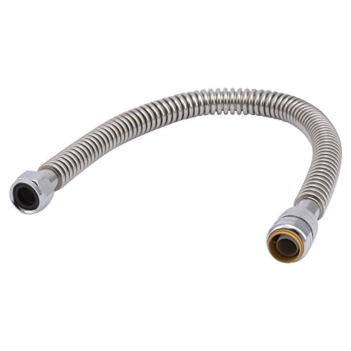 SharkBite SS3088FLEX18LFA Corrugated Flexible Water Heater Connector, 3/4 inch x 3/4 inch FIP x 24 inch, Push-to-Connect Braided Stainless Steel Water Heater Hose (Stainless Hose Corrugated Steel)