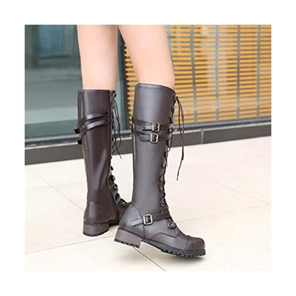 Ourhomer  Clearance Sale! Womens Steampunk Gothic Vintage Style Retro Punk Buckle Military Combat Boots Shoes 5