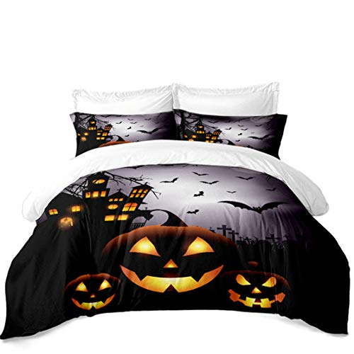 Halloween Bedding Sets Store (JARSON Halloween Pumpkin Bedding Set King Size 3D Black Night Castle Bat Printed Duvet Cover Set Kids Cartoon)