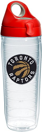 Tervis 1232429 NBA Toronto Raptors Primary Logo Tumbler with Emblem and Red with Gray Lid 24oz Water Bottle, Clear by Tervis