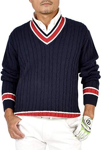 【サンタリート】 Santareet メンズ チルデン Vネック コットン ゴルフ セーター SK-1808002