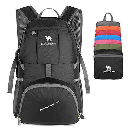 be170ce251ce CAMEL CROWN 35L Lightweight Packable Backpack Travel Hiking Daypack  Ultralight Foldable Backpacks for Camping Backpacking Outdoor