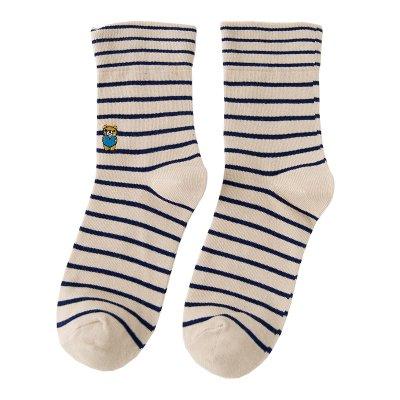 3 Double otoño invierno de puro algodón, oso bordado, camisa rayas calcetines calcetines calcetines