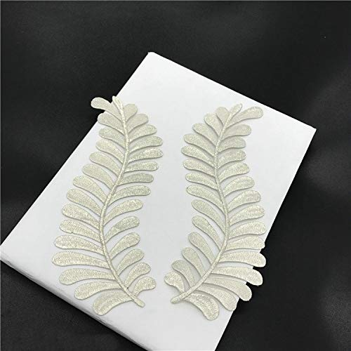 2 Pcs Leaf Applique Clothing Embroidery Patches Sticker Iron On Patch Craft Sewing Repair DIY Embroidered (Silver)