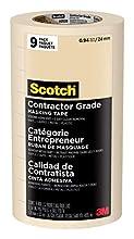 Scotch Brand 3M 2020-1A-CP 2020-24A-CP Masking Tape, 9 Rolls- 0.94 Inch x 60.1 Yards, Browns. 94 inch