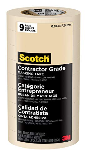 Scotch Brand 3M 2020-1A-CP 2020-24A-CP Masking Tape, 9 Rolls- 0.94 Inch x 60.1 Yards, Browns. 94 inch