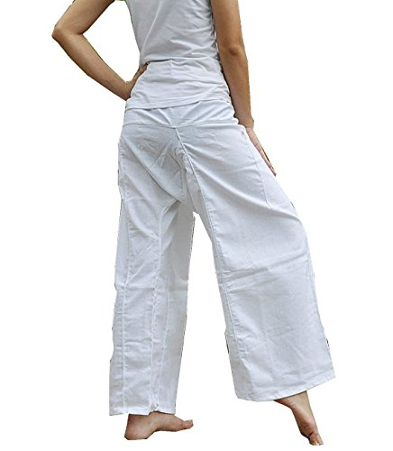 One Tone Pure White Lululemon Pants Yoga Pants Thai Fisherman Trousers Free Size Cotton - India Oakley