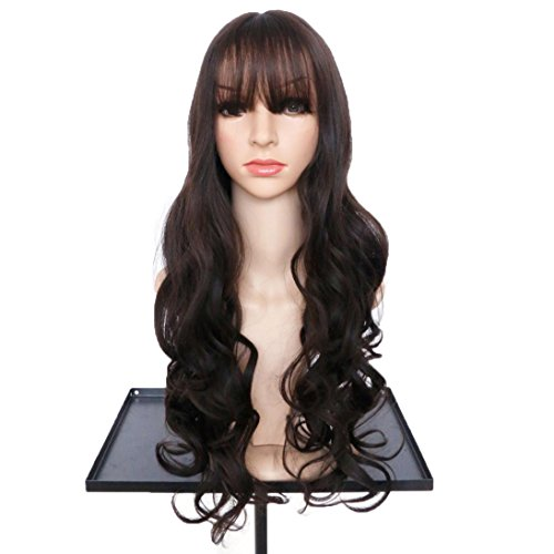 DEESEE(TM) Women's Wavy Curly Long Hair Full Of Wig Cosplay Costume Party Natural Wigs (D) (Brown Long Wig With Two Bows)