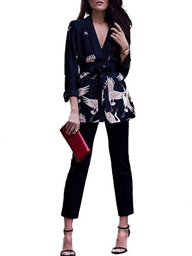 Print Blazer (Glamaker Women's Deep V Neck Long Sleeve Print Blazer Jacket)