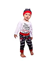 Veepola Baby Clothes, 3PCS Toddler Kids Baby Letter Print Romper +Long Pants+Hat Set Outfit