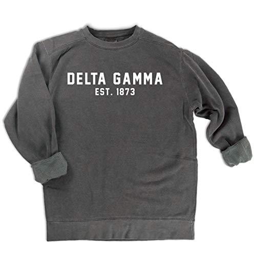 Comfort Colors Delta Gamma EST. 1873 Sweatshirt   Sorority Sweatshirt (Medium) ()