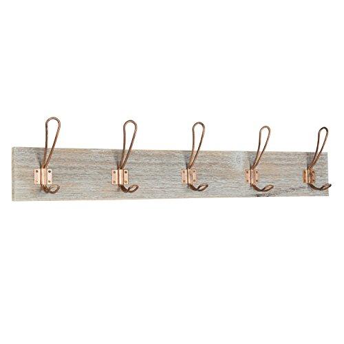 Kate and Laurel Skara Wood Wall Coat Rack with 5 Metal Hooks, Rustic Brown and Rose Gold
