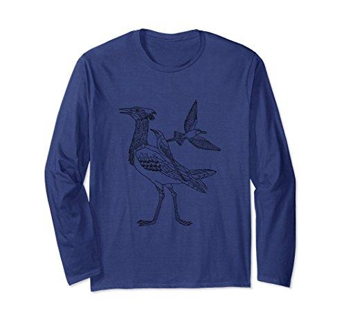 Unisex Safari Bird Print Long Sleeve Shirt Medium Navy (Bird Jungle Pretty)