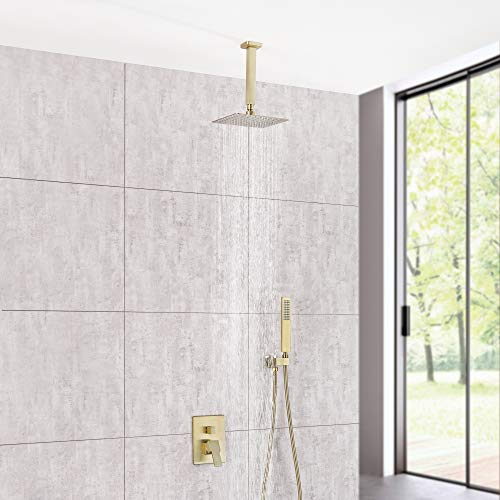 (Dr Faucet Ceiling Mount Bathroom Faucet Shower Set 8-Inch Rain Shower Mixer Taps Included Faucet Valve and 59-Inch Hose, Brushed Gold 7411C )