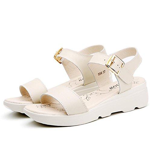 Sandales Des Plates white Cuir Printemps YC AutomneL Chaussures Finition Confortable En En Avec et Femmes ÉTé éPaisse Bas 2017 Rwn67PRq