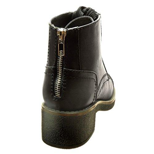 Angkorly - Zapatillas de Moda Botines altas mujer cordones acabado costura pespunte Talón Tacón ancho alto 4.5 CM - Negro