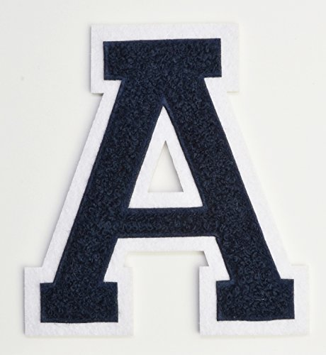 Varsity Letter Patches - Dark Navy Blue Embroidered Chenille Letterman Patch - 4 1/2 inch Iron-On Letter Initials (Navy Blue, Letter A Patch) - Patches Jacket Varsity