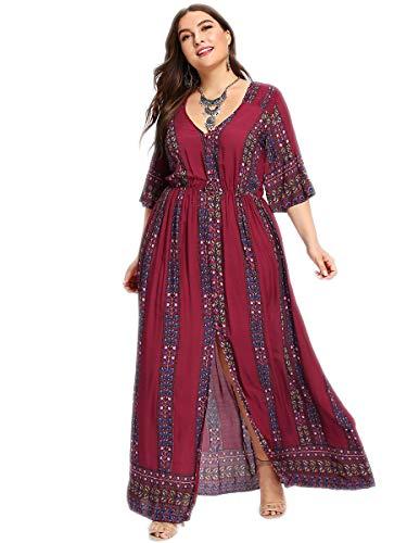 Romwe Women's Plus Size Boho Floral Print Buttons Short Sleeve Split Flowy Maxi Dress Burgundy 1XL