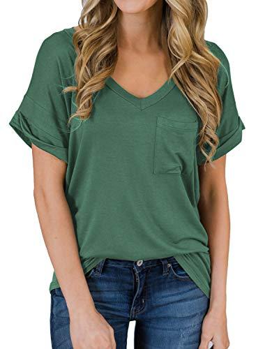 MIHOLL Women's Short Sleeve V-Neck Shirts Loose Casual Tee T-Shirt (Green, X-Large)